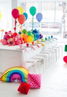 Rainbow Splash Party Theme – Adorable First Birthday Party Ideas – Photos Rainbow Splash Party Theme – Adorable First Birthday Party Ideas – Photos Rainbow Parties, Rainbow Birthday Party, First Birthday Parties, First Birthdays, Rainbow Party Decorations, Girl Parties, Kids Birthday Decorations, 5th Birthday, Party Decoration Ideas