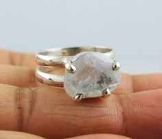 NATURAL RAINBOW MOONSTONE RINGS SOLID SILVER 925 STERLING JEWELRY 5.9 GM US 8 #Unbranded
