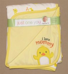 NWT Carters Just One Year I Love Mommy Duck Chick Receiving Baby Blanket Yellow #JustOneYear