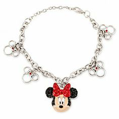 Disney Minnie Mouse Rhinestone Bracelet | Disney StoreMinnie Mouse Rhinestone Bracelet - Accessorize with a smile and our shimmering silvertone chain bracelet with dimensional cloisonn� Minnie pendant, sparkling with charm in her rhinestone ears and bow!