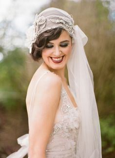 Just gorgeous, Juliet cap Bridal Veil with floral Crystal and pearl side accents...
