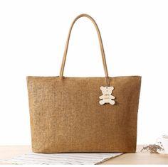 Simple Solid Women Bag Handbag Large Capacity Casual Totes Shoulder Bags Linen Weaving Summer Beach Bag for Shopping Travel
