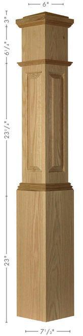 ARP-4092 Red Oak Actual Raised Panel Box Newel Post