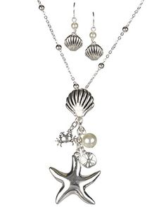 Silvertone Starfish Sea Shell Sand Dollar Imitation Pearl Earring Necklace Set by Jewelry Nexus * See this great product. Starfish, Necklace Set, Sea Shells, Jewelry Sets, Pearls, Earrings, Silver, Gold, Stuff To Buy