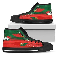 Portugal Patriotic Football Shoes Football Shoes, Hot Shoes, Vans Sk8, Classic Looks, Snug Fit, Portugal, High Top Sneakers, Lace Up, Fashion