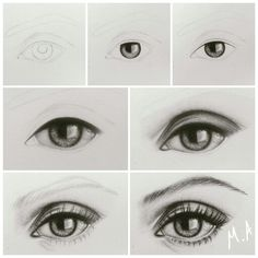 Drawing eye step by step by me mai ali easy eye drawing, human face dra Human Eye Drawing, Easy Eye Drawing, Eye Drawing Tutorials, Realistic Eye Drawing, Drawing Techniques, Drawing Eyes, Pencil Art Drawings, Love Drawings, Easy Drawings