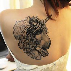 Big unicorn pattern sexy girls back tattoo art , water proof design large unicorn temporary tattoos