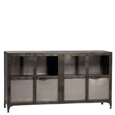 "This sideboard is perfect for a dining room with an industrial chic motif. It has ample storage, both visible and hidden with steel doors on the bottom and glass doors on the top. Height 36"" Width 66"""
