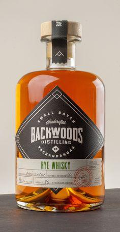 Whisky Label designed for Backwoods Distilling Co. Whisky, Whiskey Label, Cigars And Whiskey, Scotch Whiskey, Alcohol Bottles, Liquor Bottles, Bottle Packaging, Bottle Labels, Kombucha