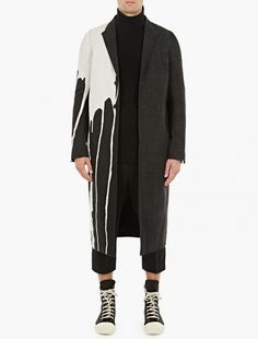 Rick Owens | Black Denim Bleach-Stain Coat | Crafted in Italy from premium cotton denim, this overcoat from Rick Owens features a unique 'bleach' stain to the right-hand side. Featuring a single-breasted button-down closure, it is finished with a single-vent to the rear.