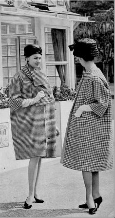 1954 Houndstooth coat with scarf-collar by Givenchy, collarless checked coat by Balenciaga, photo by Georges Saad in front of La Tête Noir, restaurant in Paris,