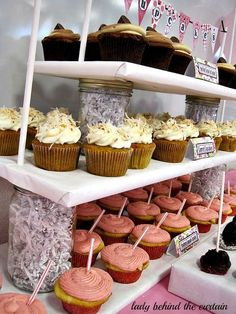 DIY Cupcake Stand - This is so incredibly easy! I am thinking shorter shelves so that an actual small cake can sit on top! Baby Cupcake, Cake And Cupcake Stand, Cupcake Display, Cupcake Cakes, Cupcake Party, Cupcake Holders, Festa Party, Diy Party, Party Ideas