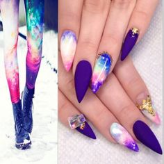 Multicolor Fashion Inspired Galaxy Stiletto Nails.