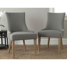 Safavieh En Vogue Dining Lester Granite Oak Chairs Set Of 2 By