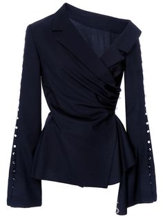 Blouse Dark Blue Oblique Collar Flare Sleeve Women Fashion Gothic Shirts Young Casual Tops Pleated Button Slim Blouses – Online Pin Page Gothic Tops, Gothic Shirts, Look Fashion, Fashion Outfits, Womens Fashion, Fashion Tips, Fashion Design, Fashion Beauty, Modest Fashion