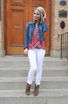 Spring details, white denim, denim jacket, brown booties and red tank, blogger style