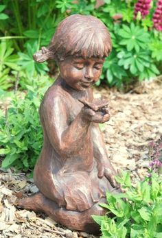 Girl with Butterfly Garden Ornament