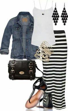 Falda larga rayas