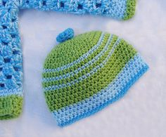 simple crochet striped baby hat pattern