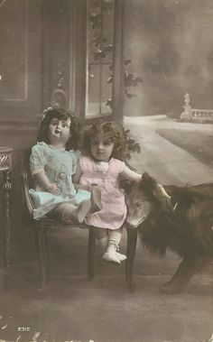 Vintage Postcard/ 'Girl with her dog and beautiful Edwardian Doll' (1912)