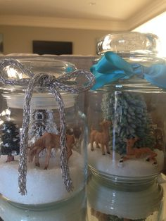 Empty candle jars, Epsom salt and winter creatures & trees