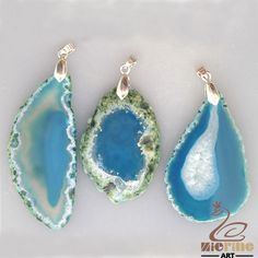 RAW AGATE SLICE PENDANT FOR NECKLACE TEAL LOT 3 PCS GEM ROUGH GEMSTONE GB0000030 #ZL #PENDANT