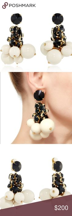 """Moda Operandi Strass Drop Earrings Earring measures 3.5""""(9cm) x 1.5"""" (4cm) These Marni drop earrings feature a clustered design with stones and spheres in various sizes. Product Details: Drop Clip-On earrings Gold hardware Multi-sized spheres and jewels Clip-on clasp 50% methacrylic, 20% brass, 20% resin, 5% silk woven, 5% glass rhinestone Made in Italy Moda Operandi Jewelry Earrings"""