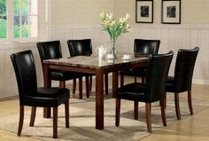 7pc Dining Table  Parson Chairs Set Black Leather Like Rich Cherry Finish * Read more  at the image link.Note:It is affiliate link to Amazon.