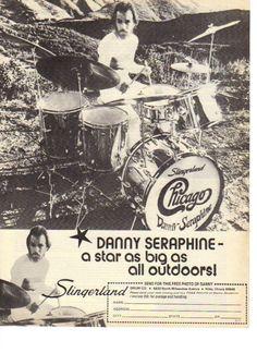Vintage Ad 1974 Danny Seraphine Chicago Slingerland Drums Drummer