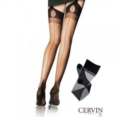64b650c9056c0 ... elegance and refinement of an authentic Fully Fashioned Seamed veil  with pointed French Heel in Black with Tentation Seam Nylon Stockings Cervin  Paris