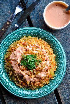 Simple rice and veggies with peanut and tomato sauce  VeganSandra - tasty, cheap and easy vegan recipes by Sandra Vungi