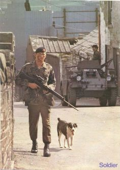 On Patrol with a friend? British Armed Forces, British Soldier, British Army, Military Working Dogs, Military Dogs, Soldier Tattoo, Northern Ireland Troubles, Military Pictures, Armored Fighting Vehicle