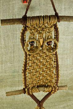 "Vintage 23"" Macramé Owl on Tree Branch Sticks Jute Rope Beads Fringe Wall Decor"