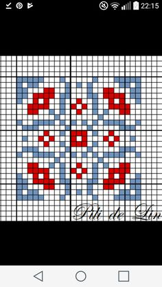 Biscornu Cross Stitch, Cross Stitch Heart, Cross Stitch Embroidery, Fair Isle Knitting Patterns, Knitting Charts, Knitting Stitches, Cross Stitch Patterns, Quilt Patterns, Cross Stitch Geometric