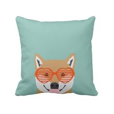 Shiba Inu glasses dog cute shiba inu puppy gifts Throw Pillow featuring and polyvore,