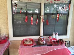 Decorations for the Friday the 13th birthday party. Not bad for being thrown together at the last minute!