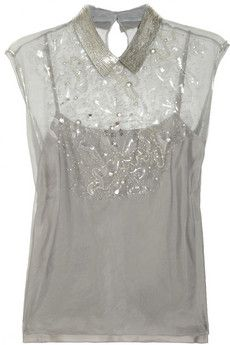 PHILOSOPHY Embellished silk-organza top | THE OUTNET