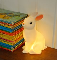 """penelope already has """"mushroom"""" her mushroom night light, but there's just something about this bunny..."""