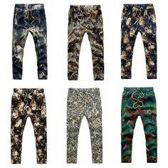 Delgado flores pantalones corredores casuales pantalones de lino de impresión para hombre de la moda de verano