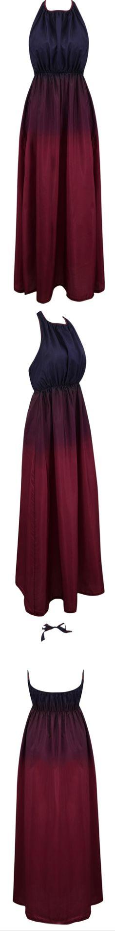 Gradient Ramp High Slit Pleated Maxi Halter Dress