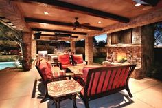 outdoor kitchen + fireplace
