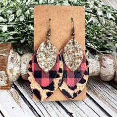 Buffalo Plaid Leopard Earrings, Red and Black Plaid Leather Earrings, Cheetah Leather Earrings, Layered Leather Earrings, Glitter Earrings by whiteshedcreations on Etsy