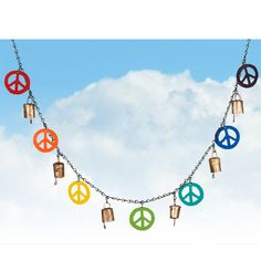 Peace Chimes.  And listen to the sounds of harmony all around you. Our Peace Chimes, decorated with peace symbols in all different colors, remind us that various expressions of harmony can be found anywhere. Created entirely from reclaimed material, these peace chimes also include Noah Bells from India, said to promote positive energy.