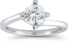 Four Prong Twist Solitaire Engagement Ring  : This unique engagement ring is featured with four prongs that curve to form the shank of the ring. The center can be set with the center stone of your choice.