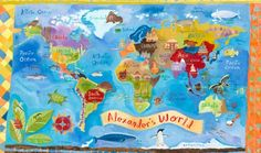 """""""Our World"""" educational kids wall decor by Donna Ingemanson for Oopsy daisy, Fine Art for Kids"""