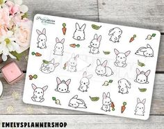 Kawaii Bunny Planner Stickers - Kawaii Stationary - Hobonichi Sticker - Bujo Sticker - Character Sticker for your Bullet Journal 2304 by EmelysPlannerShop Birthday Bullet Journal, April Bullet Journal, Bullet Journal Ideas Pages, Bullet Journal Inspiration, Bullet Journals, Passion Planner, Happy Planner, Work Planner, College Planner