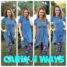LulaRoe Carly Dress knotted 4 ways! Lots of fun ways to wear these fun clothes https://www.facebook.com/groups/LulaRoeBethSoto/
