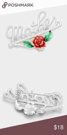 """Mothers Day """"Mother"""" rose brooch Style No : [126701] BR9976-S • Color : Silver, Red, Green • Theme : Mother  • Size : 2"""" W, 1.3"""" L • """"Mother"""" rose brooch moters day Jewelry Brooches"""