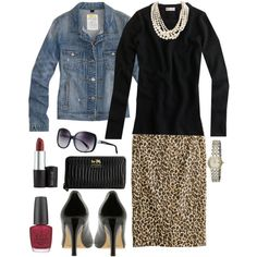 "From another pinner:  ""The versatility of this outfit is incredible; without jean jacket...perfect for office; put jean jacket on for the evening. J. Crew pencil leopard skirt is sold out but I saw one very similar this past weekend at Marshall's:)"""