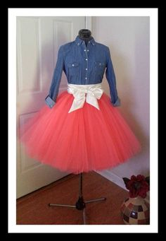 Custom Made Adult Coral Tulle Tutu Style Skirt for brides maid dress, prom, party, inches satin sash is included-Any color Robes Tutu, Midi Flare Skirt, Tutu Outfits, Maid Dress, Skirt Fashion, Prom Dresses, Dress Prom, Dress To Impress, Dress Skirt